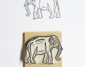 Elephant - Hand Carved Rubber Stamp
