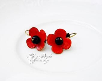 Poppy - enamel earrings with onyx- red - black - flower