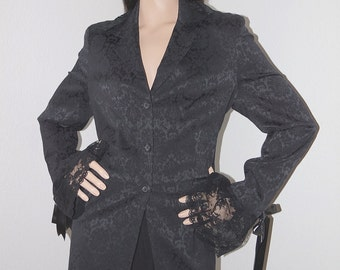 Black Gothic Victorian Steampunk Jacket / Corset Back Goth Lolita Jacket / Etam Jacket / Victorian Chic Lace Ruffle Trim Black Damask Blazer