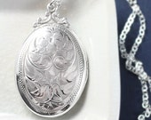 Sterling Silver Locket Necklace, Vintage Large Oval Birks Double Photo Pendant - Expression of Love