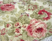 "Covington ""Parkwood"" Rose Floral Decorator Fabric -Textured Like Barkcloth Cotton -Pink Rose Merlot Olive Green Flower Drapery OOP"