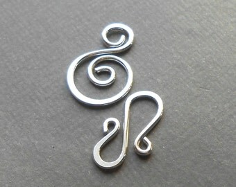 Sterling silver clasp with Spiral Connector, Artisan Clasp, Sterling Silver Findings