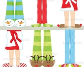 Christmas Pajama Feet Cute Digital Clipart, Christmas Clip art, Christmas Graphics, Pajama Images, Scrapbook, Snowman, Socks, Robe, Reindeer