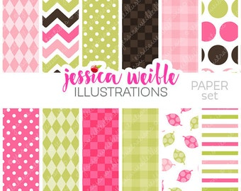 First Birthday Girl Owls Cute Digital Papers - Commercial Use OK - Backgrounds for Invitations - Pink and Green Backgrounds, Papers