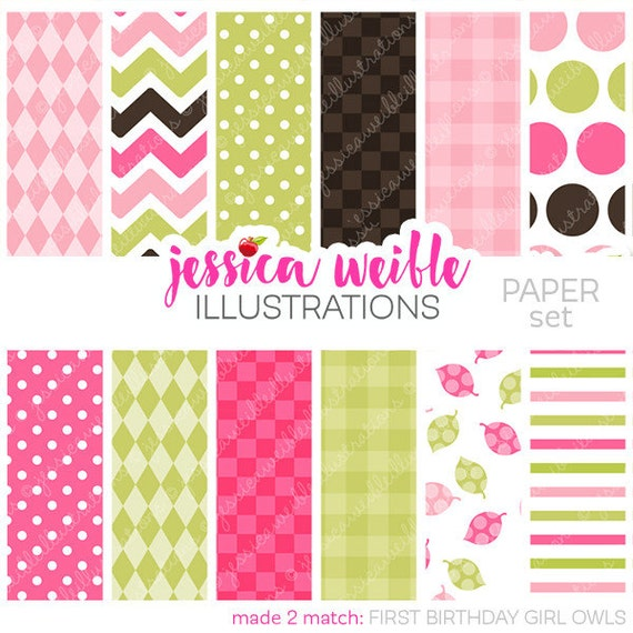 First Birthday Girl Owls Cute Digital Papers