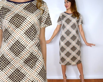 60s Brown Print Shift Dress | Geometric Print Short Sleeve Dress, Medium
