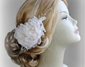 Romantic Blush Wedding Hair Flowers, Bridal Hair Piece, Blush Pink Head Piece, Crystals, Pearls, Silver, Gold, Rose Gold - ECHO