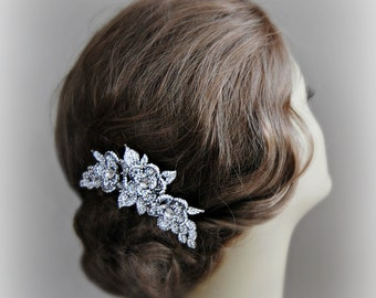 Crystal Hair Comb, Wedding Comb, Silver Rose Bridal Headpiece with Leaves - ROSE
