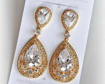 Gold Crystal Earrings, Cubic Zirconia Bridal Earrings, Chandelier Earrings - SASHA