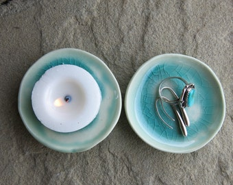 Aqua Blue Green Ceramic Tea Light Trinket Dish in Crackly Glaze, Simple and Tiny Gift Idea, Handmade Artisan Pottery by Licia Lucas Pfadt