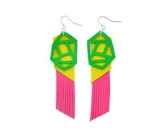 Geometric Earrings, Pink Fringe Earrings, Green Leather Earrings, Color Block Earrings, Long Statement Earrings, Geometric Jewelry