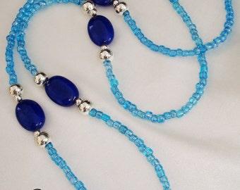 DIY Lanyard Aqua & Blue lapis lazuli lanyard KIT everything included easy homemade gift