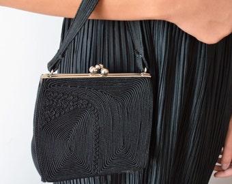 Black Corded Handbag, Black Corded Clutch, Evening Handbag, Vintage Handbag, Vintage Clurch, 1940s Handbag