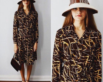 Leo Danal by Normie Hum Ltd., 1970s Dress, Equestrian Print Dress, Brown Dress, Casual Dress, Day Dress, Career Wear, Dress