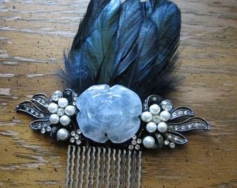 Crystal hair comb | quartz | rose flower | pearl headpiece | flower fascinator