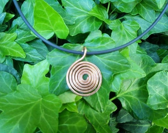 Spiral copper pendant necklace
