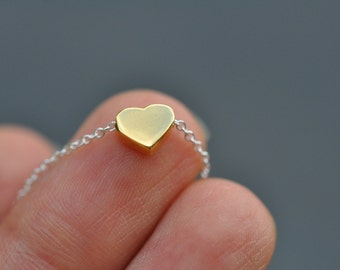 Vermeil yellow Gold heart Necklace - Gold plated over sterling silver heart charm necklace, pink gold heart