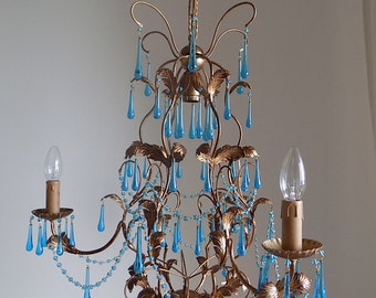 on sale!! 70% off 30s Italian tole gilded birdcage chandelier, clear blue Murano, 3 arms drops rare!