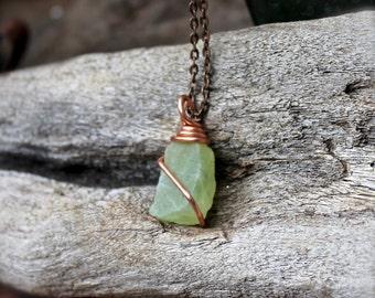 Natural Prehnite Necklace - Raw Stone Jewelry - Rough Stone Necklace - Wicca Jewelry - Bohemian Jewelry - Boho Necklace - Gemstone Pendant