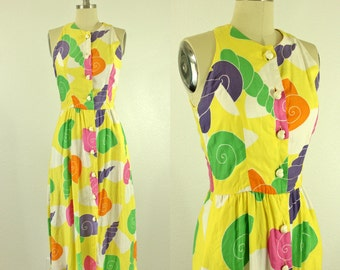 Seashell 80's Sun Dress Novelty Print Women's S M