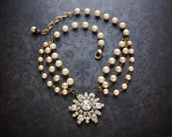 Pearl and Rhinestone Edwardian Assemblage Necklace with Large Antique Rhinestone Sunburst Pendant