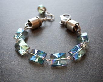 Lagoon Green Luster Crystal Rectangle Starbust Bracelet with Nickel 357 Bullet Caps