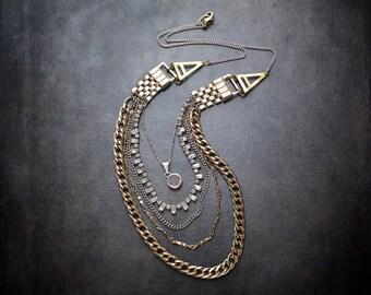 Vintage Mixed Metal  Multi Strand Bib Necklace with Vintage Rhinestones and Druzy Pendant
