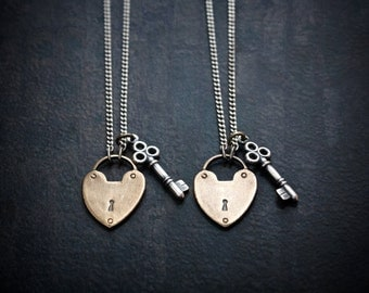 Adorable Brass Heart Lock Pendant with Antique Silver Key on Silver Curb Chain