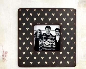 Black and white Hearts Picture Frame,  Photo Frame, Picture Frames, Heart, Valentine's Day Decor,  Unique Frames, decor