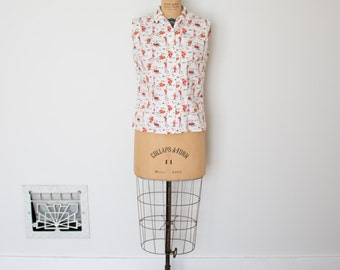 Vintage 1950s Blouse - 50s Novelty Print Top - The Marie