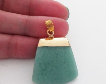 Jade Trapezoid Pendant - Green Gold Top Dipped - 3D Jade Slice Geometric Pendant - Double Sided - Smooth Natural Gemstone - DIY Jewelry