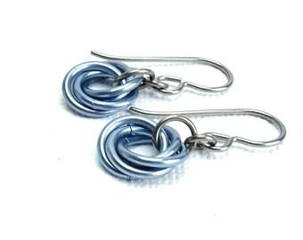 Light Blue Niobium Earrings, Hypoallergenic Titanium Mobius Sensitive Ears Earrings, Infinity Love Knot Earings Chainmail Flower
