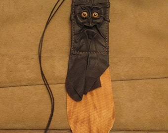 Grichels leather ID card holder - dark brown with copper star eyes, scaly variegated tan fringe