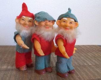 Trio of Wee Vintage Posable Elves