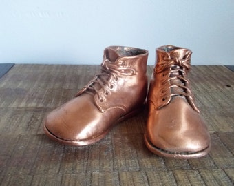Pair of Vintage Copper Bronzed Baby Shoes