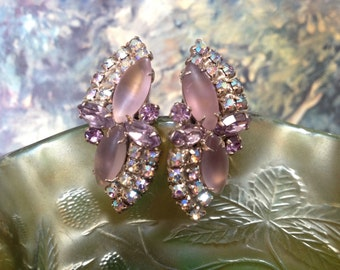 Lavender Frosted Glass Navettes and AB Rhinestone Juliana Earrings – 1960s Jewelry