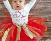 My First Christmas Baby Girl Christmas Outfit; Babies First Christmas Outfit; 1st Christmas Tutu