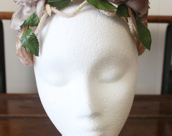 Vintage Flower Crown Hat Floral Headband Headpiece 1950s