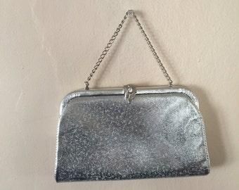 Vintage Silver Lame Frame Clutch Evening Bag Purse