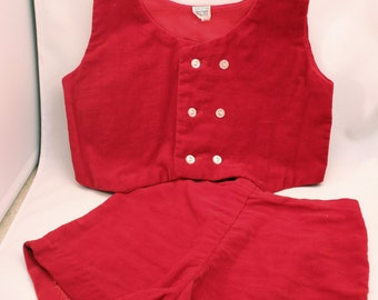 Vintage Boys Toddler Holiday Outfit 18M Red Velvet Vest & Shorts Christmas Valentines Day Attire