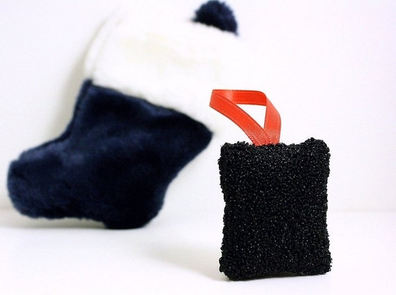 Ready to Ship! Christmas Coal Stocking Stuffer Christmas Ornament Holiday Home Decor Punch Needle Lavender Sachet Naughty List Gift Under 25