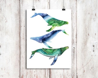Swimming Humpback Whales Instant Download, Whale art digital download, Humpback Whale painting, Humpback whale print, Watercolour Whales,