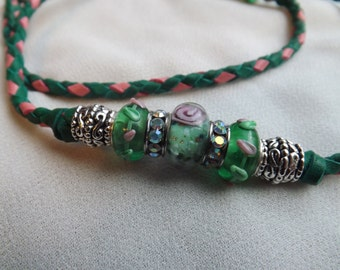 Braided Kangaroo Show dog lead - Chic  33 inch green lead with  lampwork beads and rhinestones