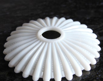 "Ribbed Milk Glass Candle Bobeche 6"" Diameter Vintage Lighting"