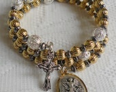 Custom Five Decade Catholic Rosary Bracelet - Gold/Silver/Gunmetal Mixed Metal with Your Choice of Crucifix and Eight Medals (GOSIGU5)
