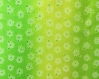 Green Ombre Fabric - Yellow and Green Ombre Flower Print - Ombre Quilt Fabric - Green Little Flower Print - Fabric Yardage