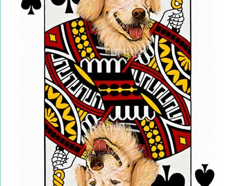 Golden Retriever Jack of Spades Handmade Card