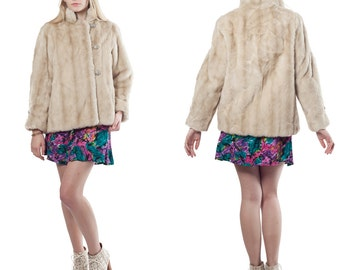 70's Vintage Glam Cream Faux Fur Lined Jacket Coat