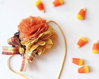 Fallmark~ mustard pumpkin brown plaid burlap and chiffon headband