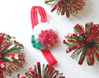 Merriment holiday headband - red white and green christmas bow
